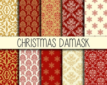 Christmas Damask - Xmas backgrounds - Instant download - Christmas wrapping - Digital Paper Pack - Set of 14 Digital Papers - 12x12 inches