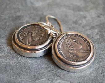 Antique coin earrings, round dangle earrings, oxidized silver earrings, sterling silver earrings, antique style earrings - Retrospect E7872