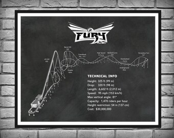 Fury 325 Roller Coaster Carowinds -  Drawing Illustration - Art - Thrill Ride - Amusement Park Decor - Steel Giga Coaster
