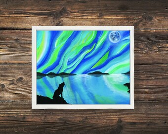 Wolf Print, Aurora Painting, Northern Lights Print, Wildlife, Woodland Animal, Nature Print, Landscape, Acrylic Painting, Acrylic Print