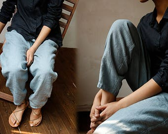 786---Linen Pants, Slightly Tapered Boyfriend , Pre-washed, Loose / Relaxed / Slouchy Fit , Women Blue Lithuanian Linen Trousers.