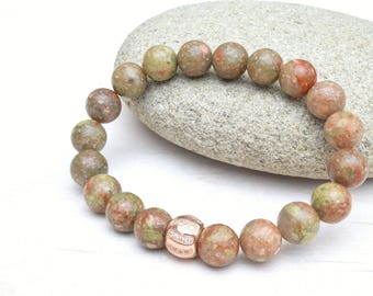 Unakite bracelet, Rose gold bracelet, Unakite jewelry, Olive green bracelet, Zirconia bracelet, Gemstone bracelet, Gift for her