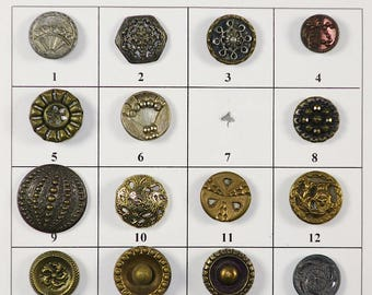"Antique Metal Buttons - 1/2"" to 9/16"" in size - Board 4"