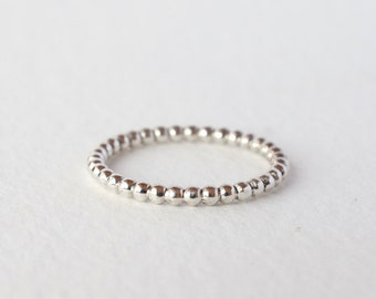 beaded granule wedding band stacking ring