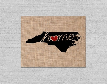 """North Carolina (NC) """"Love"""" or """"Home"""" Burlap or Canvas Paper State Silhouette Wall Art Print / Home Decor (Free Shipping)"""