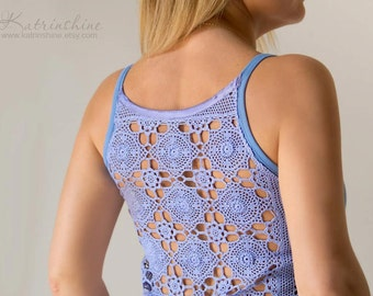 Lavender Tank Top with upcycled vintage hand dyed crochet back - Size M-L