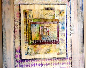 16x20 Wall Art Mixed Media Collage BoHo Style With Peace Sign - Wht/Grey/Pink/LiteBL 1.5 inch Gallery Wide Cradled Wood Board Ready to Hang