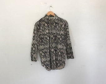90's abstract print  button up shirt by ilio size small 90's button up, vintage dress shirt
