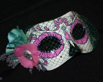 Pink, Aqua and Teal Day of the Dead Mask with Skeleton Accent - Halloween Mask