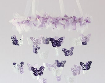 Baby Girl Nursery Decor- Purple Lavender Butterfly Mobile, Baby Shower Gift
