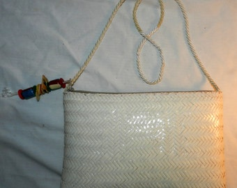 Vintage Brooks Brothers purse / handbag - White woven wicker / rattan  - Made in Philippines                                            26-9