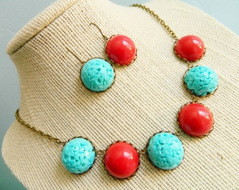 Necklace & Earring Set Vintage 50's Retro Pinup Aqua Blue and Red  - Hot and Cold