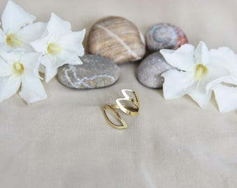 Support ring adjustable raw brass leaves approximately 17mm