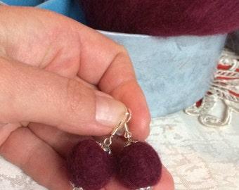 Felt Jewelry Felt Earrings Ecofriendly Earrings Burgundy Felted Earrings
