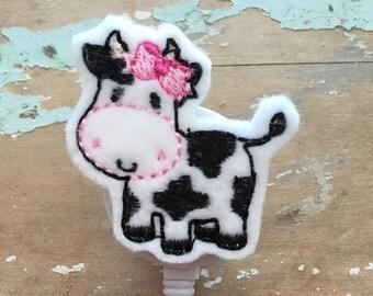 Cow ID badge reel holder retractable clip