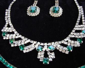 Kramer Bibb Necklace Drop Earrings/ Tennis Braclet Square Cut Emerald Stones/ Rhinestones - item 734B, Jewelry