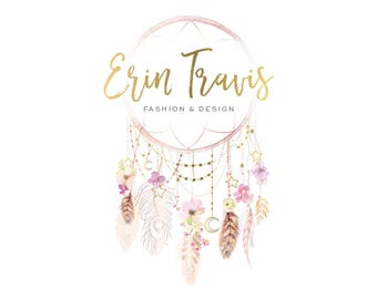 Logo Design Branding Package Premade Graphics Custom Text Watercolor Gold Floral Pink Rose Gold Dreamcatcher Feather Moon Boho Hippie