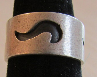 Wide Sterling Silver Band Ring Size 6