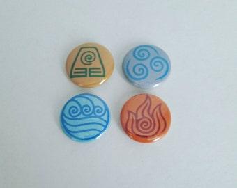 Avatar Legend of Korra inspired 1 inch pinback button set