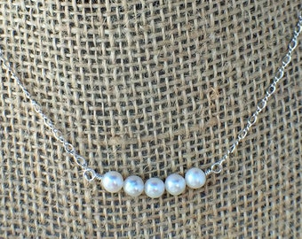 Sterling Silver Pearl Necklace - Freshwater - Pearl Necklace - White