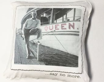 Queen say no more decorative throw pillow DRAGQUEEN LGBTQ pride power recycled upcycled 14x14