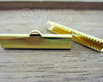 20 Raw Brass 30x6mm Ribbon Crimp Ends with Loop, Fasteners Clasp Findings, Ribbon Ends Clamps, Raw Brass Findings EK229