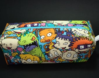 Boxy Makeup Bag - Nickelodeon Rugrats Zipper - Pencil Pouch - Tommy, Dil, Angelica, Phillip, Lillian, Chuckie, Kimi, Susie, and Reptar