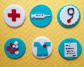 MEDICAL Cupcake Toppers(12), DOCTOR Cupcake topper, NURSE cupcake topper , Doctor Graduation