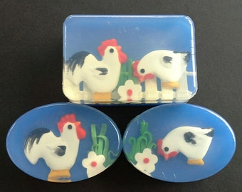 Rooster and Hen Soaps, choose One or all Three