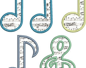 MUSICAL NOTES Applique Design - Instant Download Digital File - Machine Embroidery
