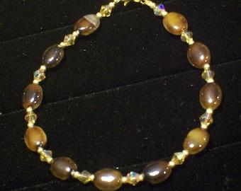 Brown Cat's Eye and Topaz Crystal Vintage Gold Tone Bracelet by hipknitta