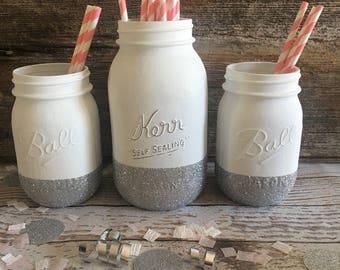 Painted Mason Jar Glitter Wedding Center Piece Bridal Shower Baby Shower