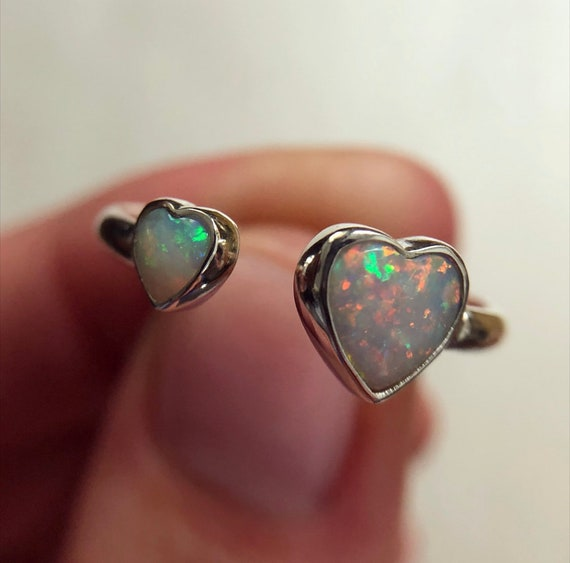 """Sterling silver """"Aria"""" ring with Australian opal hearts SZ 7.5"""