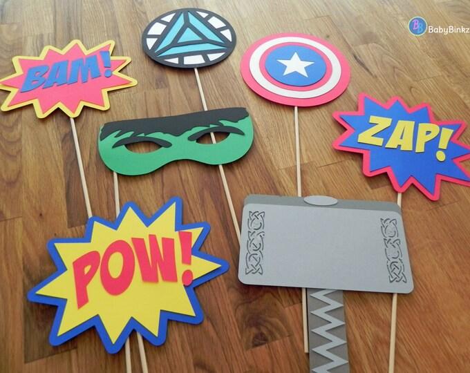 Photo Props: The Marvel Avengers Super Hero Set (7 Pieces) - party wedding birthday mask pow thor hulk america ironman avengers centerpiece