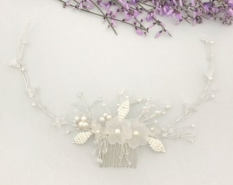 Silver flower hair vine, Floral leaf wedding hair vine, Bridal hair vine, Flower hair vine