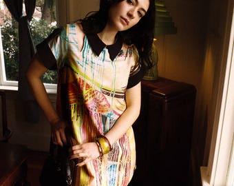 Acid Rainbow Cutout Dress