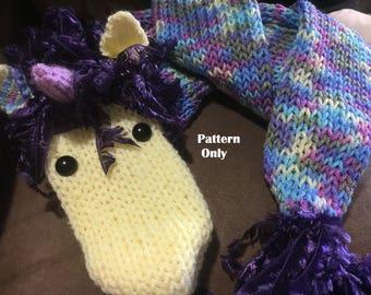 Machine (Addi) Needle Knit Magical Unicorn Scarf Pattern - INSTANT DOWNLOAD