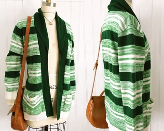 Vintage 70's Evergreen Spacedyed Stripe Cardigan