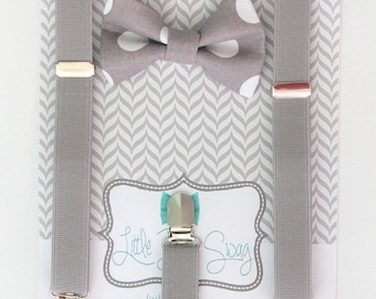 Boys Gray Bow Tie Suspenders, Boys Bow Tie, Baby Boy, Wedding Bow Tie, Ring Bearer, Boys Clothes, Boy Gift, 1st Birthday Boy, Boy Suspenders