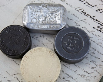 Mini French Vintage Purse Tins/Decorative Purse Vintage Tins/Vintage Vaseline Tins/Quies Egyptian Design French Tin Box/Diabetic Pill Tin