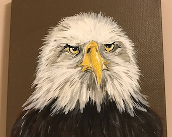 50% to Charity Original art on Canvas.  Bald Eagle