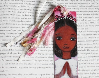 First Communion Girl  -  Laminated Bookmark  Handmade - Original Art by FLOR LARIOS