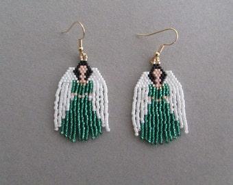 Beaded Angel Earrings in Green