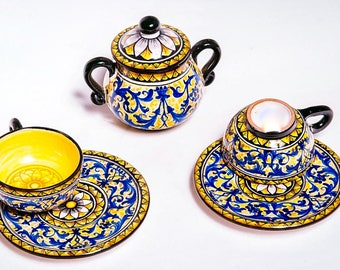 Luxury Handmade set of two majolican ceramic Espresso cups and saucers plus sugar bowl