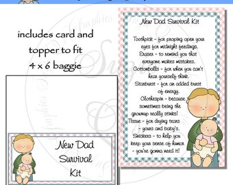 New Dad (or Daddy) Survival Kit includes Topper and Card - Digital Printable - Immediate Download
