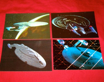 1993-1996 Star Trek Starships Set of 4  (ST22) TOS, TNG, Voyager, First Contact