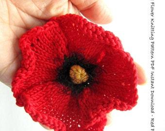 Knit Flower Instant Download PDF Pattern - Poppy Flower