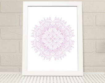 Pink Flower Bud Mandala Printable Wall Art INSTANT DOWNLOAD, flower bud mandala print, digital print, illustration, pink mandala print