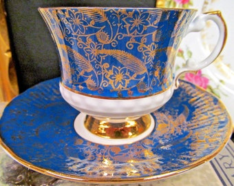 Elizabethan Tea Cup and Saucer Teal Green Gold Gilt Chintz Teacup Footed Set