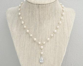 CZ Teardrop Necklace, Bridal Y Necklace, Sterling Silver Chain, Bridal Necklace, Wedding Necklace